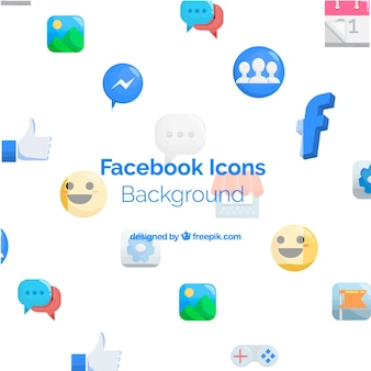 Facebook-ikonenhintergrund mit flachem design
