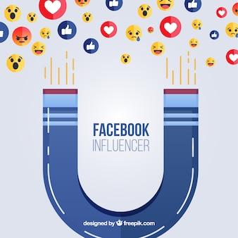 Facebook influencer hintergrund mit emoticons