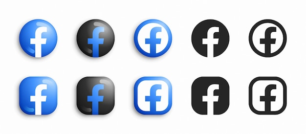 Facebook modern 3d und flat icons set
