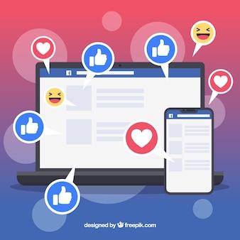 Facebook mögen und herz hintergrund