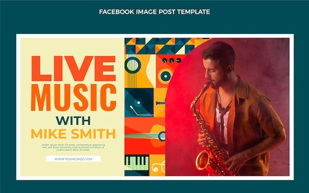 Facebook-post des mosaik-musikfestivals im flachen stil