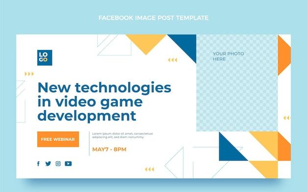 Facebook-post mit flachem design und minimaler technologie