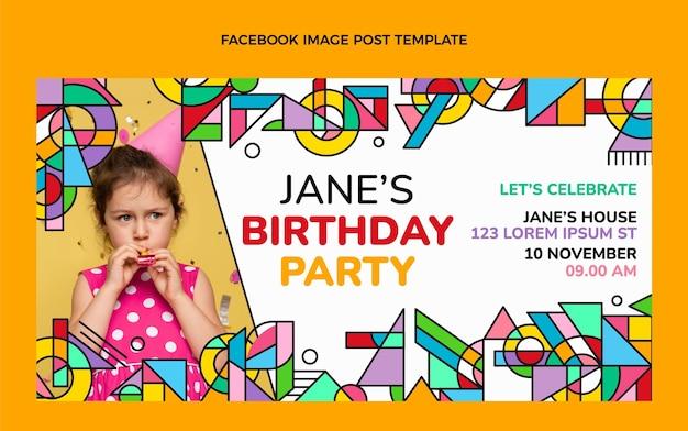 Facebook-post zum geburtstag mit flachem mosaik