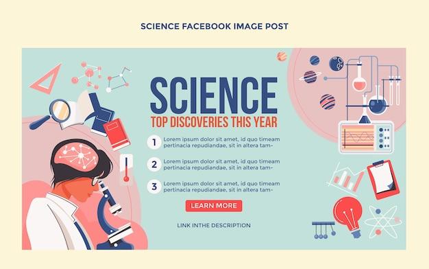 Facebook-post zur wissenschaft des flachen designs