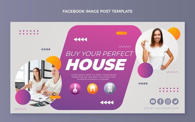 Facebook-postvorlage für immobilien mit farbverlauf