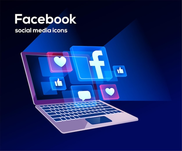 Facebook social media icons mit laptop-symbol
