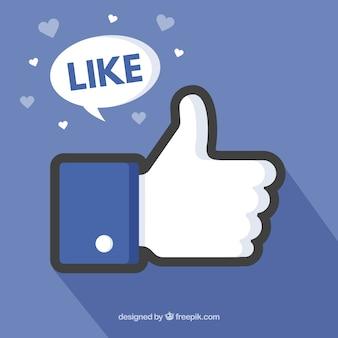 Facebook thumb up wie hintergrund in der flachen art