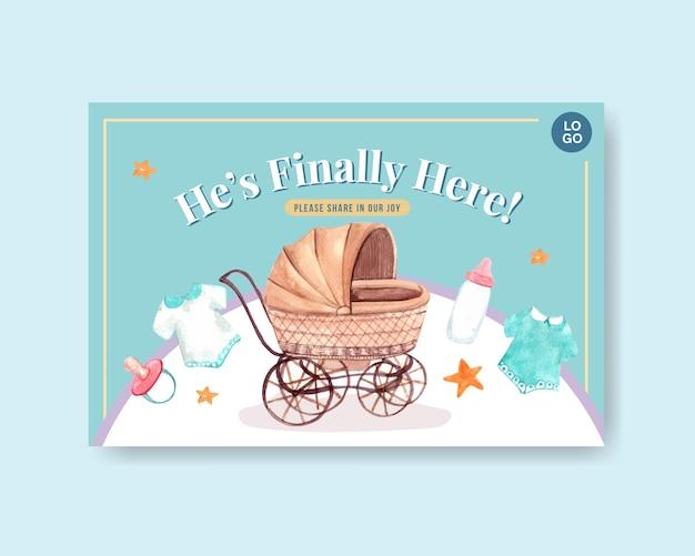 Facebook-vorlage mit babyparty-entwurfskonzept für soziale medien und online-marketing-aquarellvektorillustration.