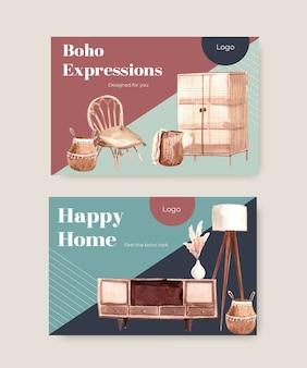 Facebook-vorlage mit boho-möbel-konzeptentwurf für soziale medien und online-marketing-aquarellillustration