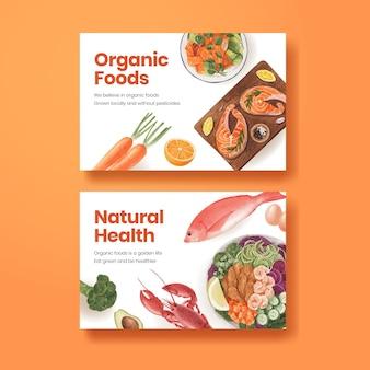 Facebook-vorlage mit gesundem lebensmittelkonzept, aquarellstil