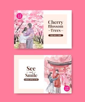 Facebook-vorlage mit kirschblüten-konzeptentwurf für soziale medien und gemeinschaftsaquarellillustration
