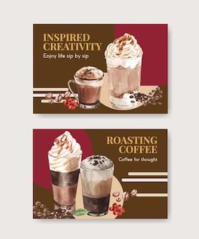 Facebook-vorlage mit koreanischem kaffeestilkonzept für aquarell der sozialen medien und des online-marketings