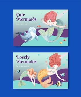 Facebook-vorlage mit meerjungfrau-konzept, aquarell-stil