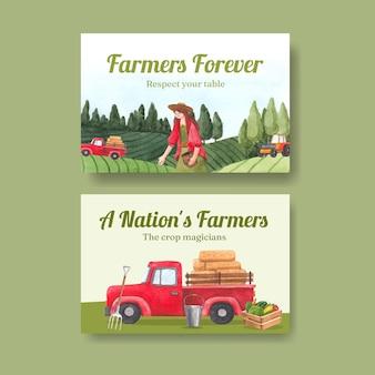 Facebook-vorlage mit national farmers day konzept, aquarell-stil