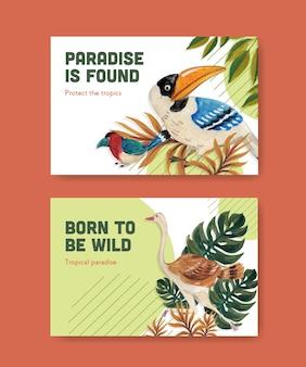 Facebook-vorlage mit tropischem zeitgenössischem konzeptdesign für soziale medien und online-marketing-aquarellillustration