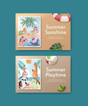 Facebook-vorlagen mit tieren sommer im aquarellstil Premium Vektoren