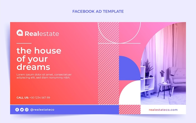 Facebook-werbung für immobilien mit farbverlauf
