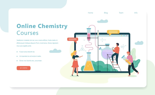 Fach chemie. online-wissenschaftskurse. idee von wissen und bildung. illustration