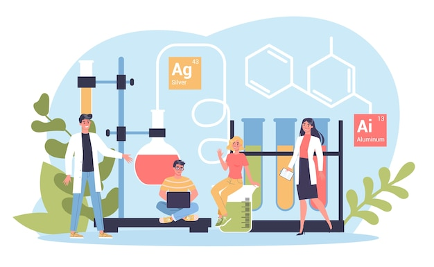 Fach chemie. wissenschaftliches experiment im labor. wissenschaftliche ausrüstung, chemische ausbildung.