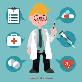 Facharzt mit medizinischen elementen