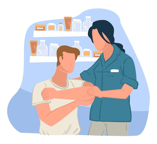 Facharztberatung in der drogerie. professionelle hilfe von medizinischem personal, kliniken oder krankenhäusern bei verletzungen. empfehlungen für kranke mit wunden geben. gesundheitswesen, vektor im flachen stil