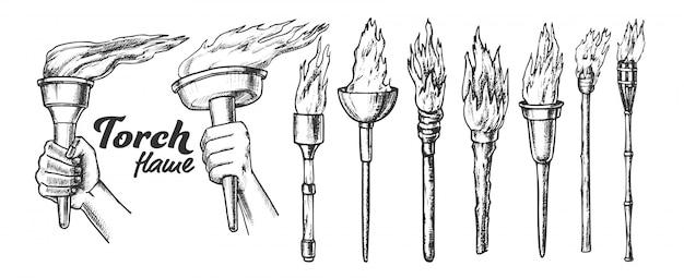 Fackel brennen sammlung monochrom set