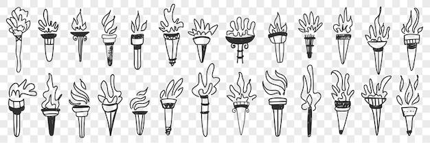 Fackel mit flammenfeuer-doodle-set