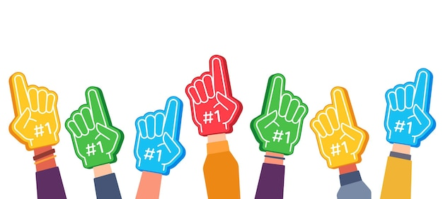 Fächerschaumfinger. hände hoch mit handschuh mit nummer eins, stadionanhänger-stolzzubehör, fußballsiegsymbol, erfolgsvektorkonzept. bester sportmannschaftsjubel, erster platz im wettbewerb