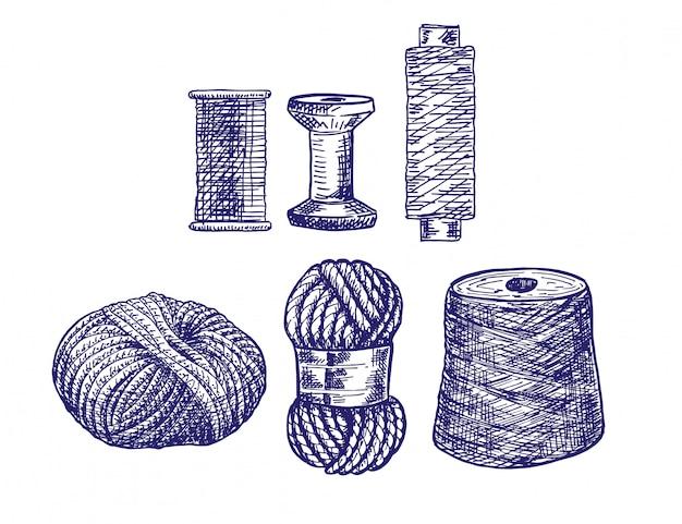 Fäden zum nähen zum kreuzsticken und stricken. wollstrickgarn fadenstrick weberei wolle skizze illustration mehrfarbig.