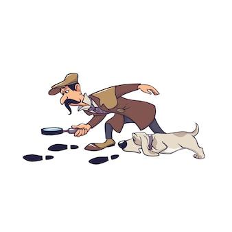 Fälliger männlicher detektiv mit dem hund, der auf die spur getrennt auf weiß folgt