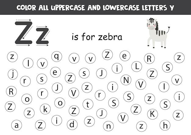 Färben sie alle buchstaben z. lernarbeitsblatt für schule und kindergarten. z ist für zebra.