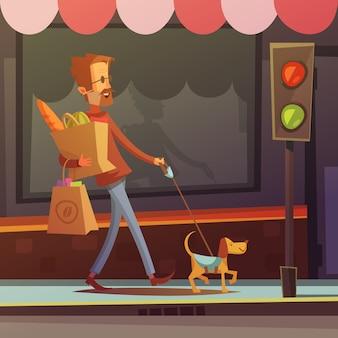 Färben sie die karikaturillustration, die behinderten blinden mann mit hund auf der straßenvektorillustration darstellt