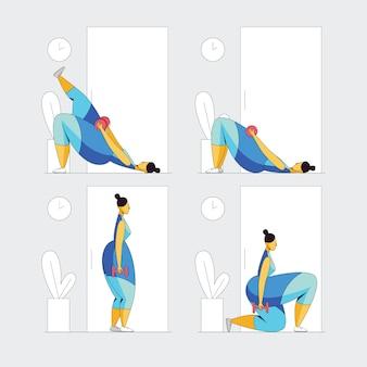 Färben sie flache artillustration eines mädchentrainierens. das mädchen trainiert im fitnessstudio. aktives mädchen, das versucht, gewicht zu verlieren
