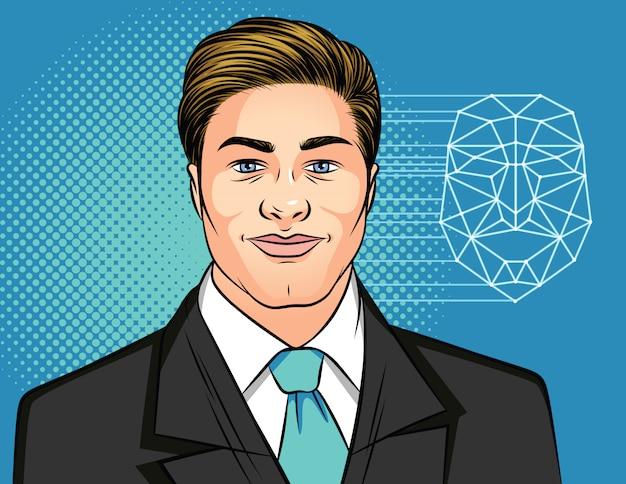 Färben sie illustration eines porträts eines mannes in einem anzug auf einem blau.