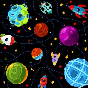 Färben sie kindermuster mit niedlichen planeten, raketen und sternen