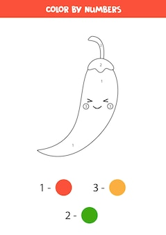 Färben sie niedlichen kawaii pfeffer durch zahlen. pädagogisches mathe-spiel für kinder. malvorlagen für kinder im vorschulalter.