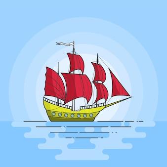 Färben sie schiff mit roten segeln im meer auf blauem hintergrund. reisender banner abstrakte skyline. flache linie kunst. vektor-illustration konzept für reise, tourismus, reisebüro, hotels, ferienkarte.