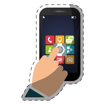 Färben sie smartphone mit bild der optionen in der hand