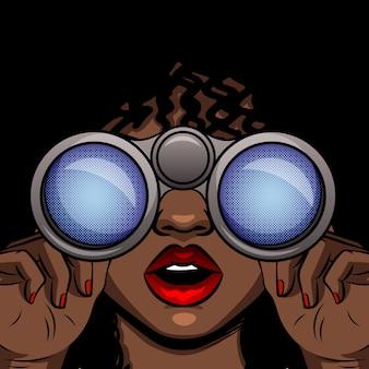 Färben sie vektor-pop-art-artillustration eines afroamerikanermädchens, das durch ferngläser schaut. weibliches überraschtes gesicht mit offenem mund. mädchen mit fernglas in den händen hautnah