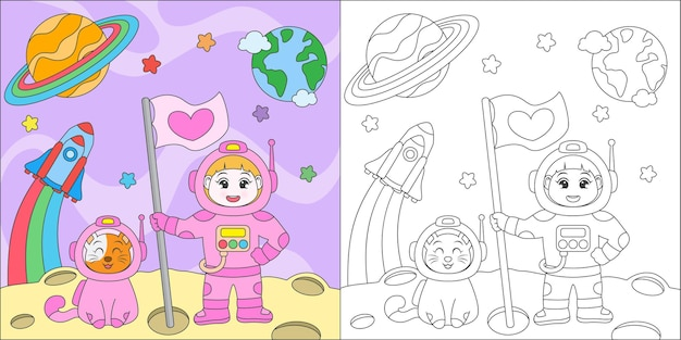 Färbendes astronautenmädchen