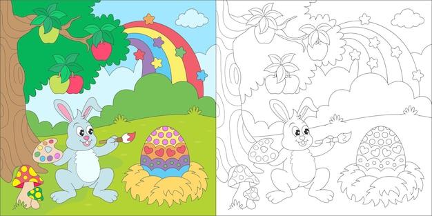Färbendes kaninchen, das eine eiillustration malt