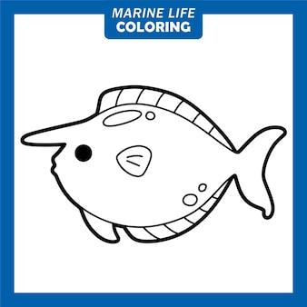 Färbung des meereslebens niedliche comicfiguren einhornfisch