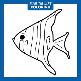 Färbung des meereslebens niedliche zeichentrickfiguren angelfish