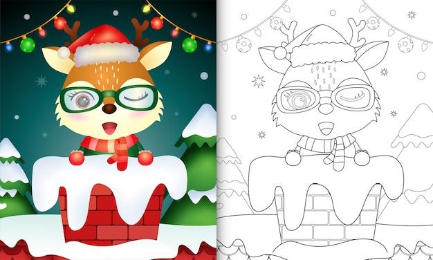 Färbung für kinder mit einem niedlichen hirsch mit weihnachtsmütze und schal im schornstein