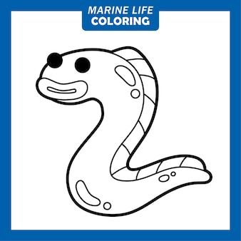 Färbung meerestiere niedliche comicfiguren aal