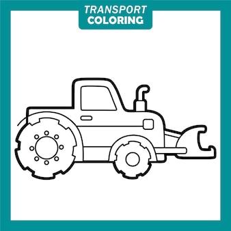 Färbung niedlicher transportfahrzeug-cartoon-figuren mit grader
