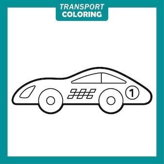Färbung niedlicher transportfahrzeug-cartoon-figuren mit rennwagen