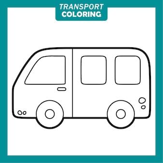 Färbung niedlicher transportfahrzeug-cartoon-figuren mit van