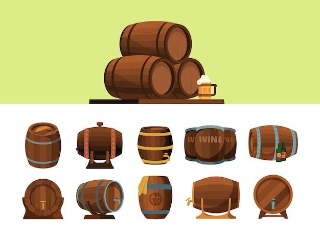 Fässer. holzkarikaturfass für alkoholproduktionspakete für wein und biervektorpiratensymbole. illustration fasskarikatur, fass für wein oder bier