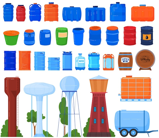 Fässer, tanks, reservoir und behälter für flüssigkeitssatz von isolierten abbildungen.